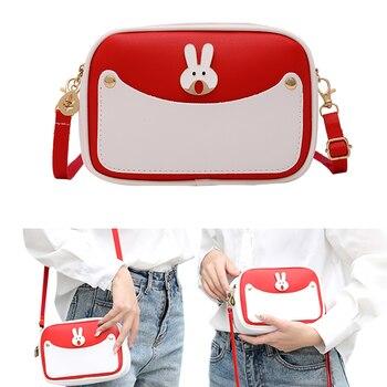 AA bolso cruzado de Color a la moda para mujer, decoración con forma de conejo, bandolera de cuero PU para mujer, para viaje/compras