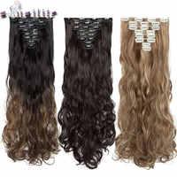 S-noilite 24 inch 18 Clips Lange Lockige Clip In Haar 8 teile/satz Hohe Temperatur Faser Haarteile Synthetische Clip verlängerung haar