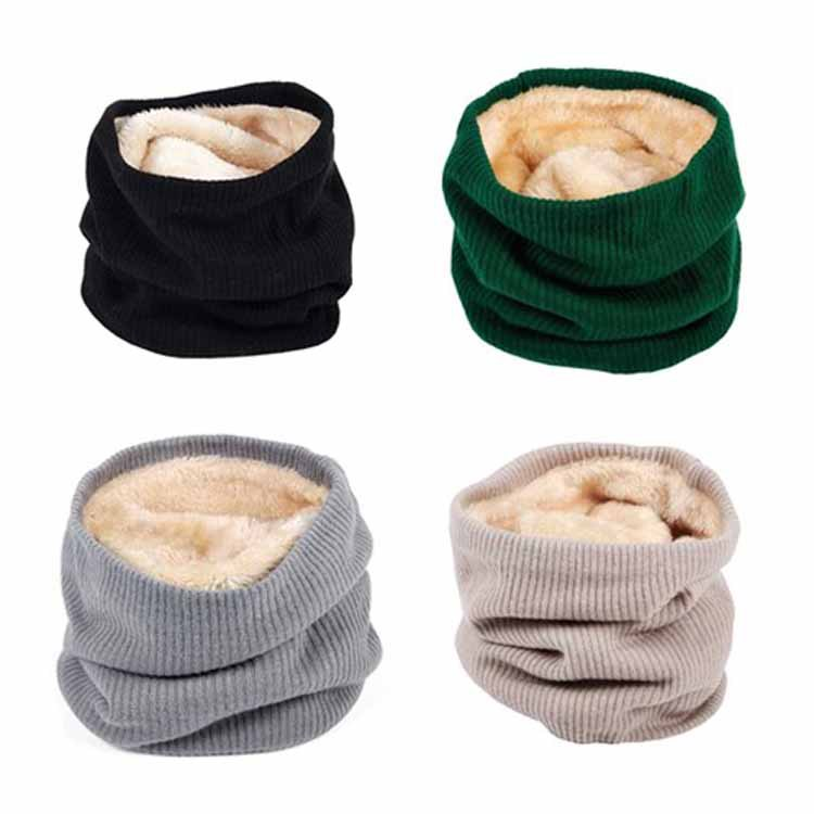Amazon 2018 Autumn And Winter New Style Double Layer Plus Velvet Warm Scarf Solid Color Single Loop Knitted Scarf Case Manufactu