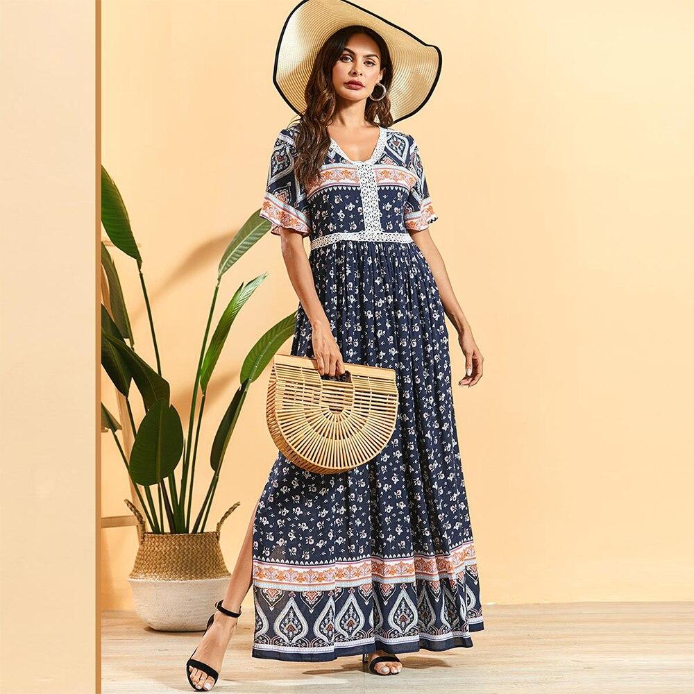 Siskakia Bohemian Summer Long Dress Elegant Ethnic Floral Lace Patchwork Empire Swing Side Slit A Line Dresses 4XL Navy Blue New