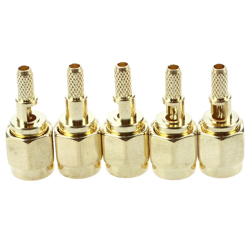 5 X SMA Male Straight Crimp RG174 RG188 RG316 LMR100 RF Coax Connector