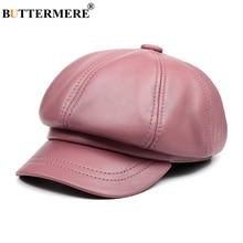 BUTTERMERE Genuine Leather Vintage Hat Women Newsboy Cap Pink Baker Boy Cap High Quality Brand Ladies Winter Octagonal Cap