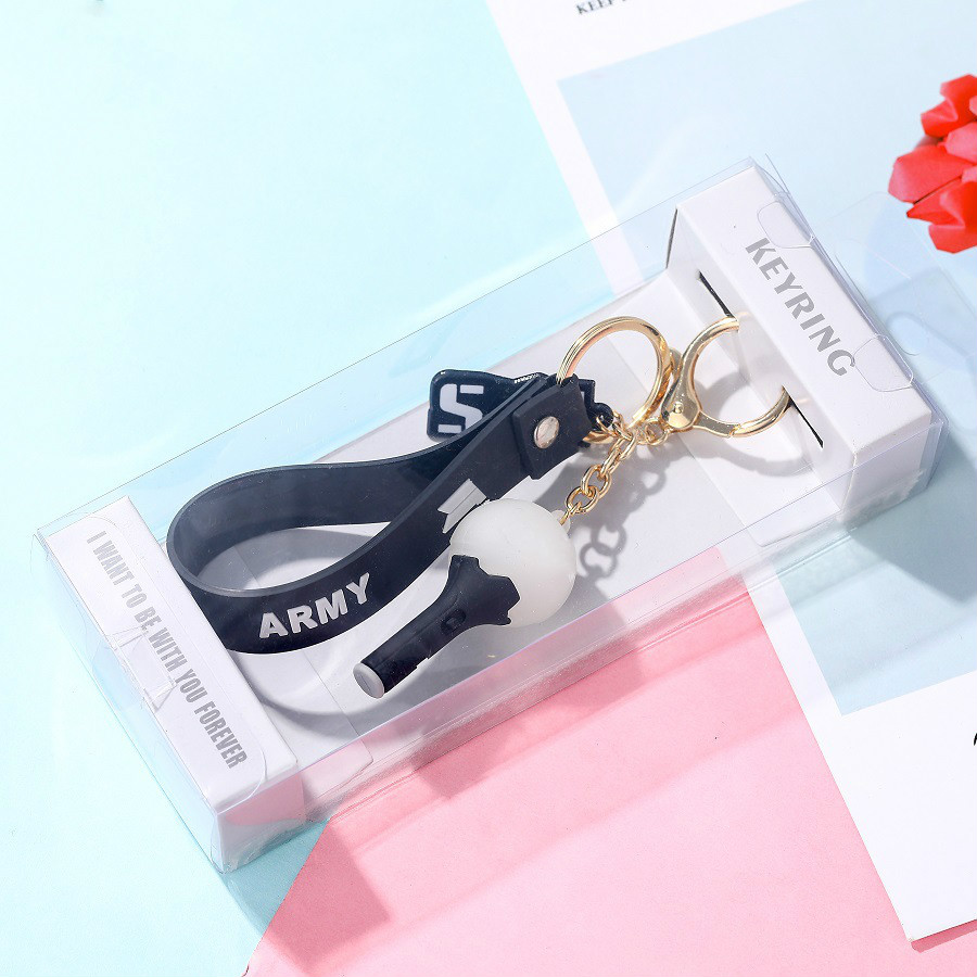 Kpop Bangtan Boys Keychain BLACKPINK TWICE NCT GOT7 Light Stick Pendant Key Chain Ring Box High Quality Kpop Bangtan Supplies