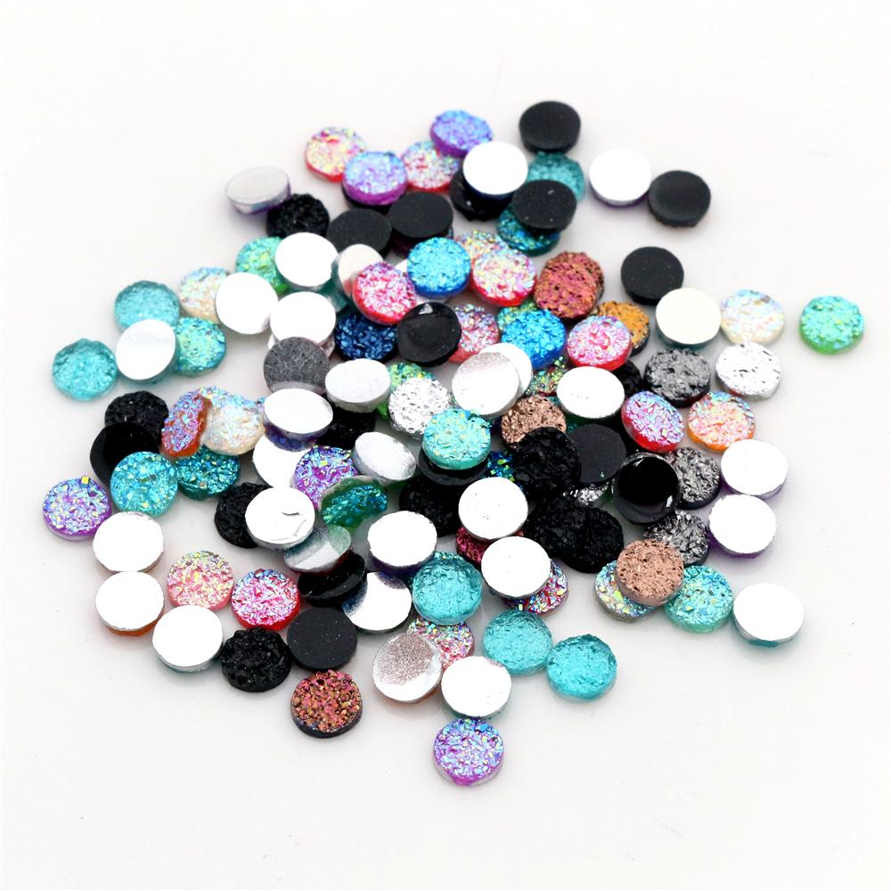 6mm 40pcs/Lot New Fashion Mix AB Colors Natural Ore Style Flat Back Resin Cabochons For Bracelet Earrings Accessories-V2-15