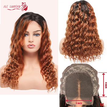 Ombre Lace Closure Wig Remy Deep Wave Wig Color 1B/30 Human Hair Wigs For Black Women 180% Density Brazilian 30 Inch Long Wigs