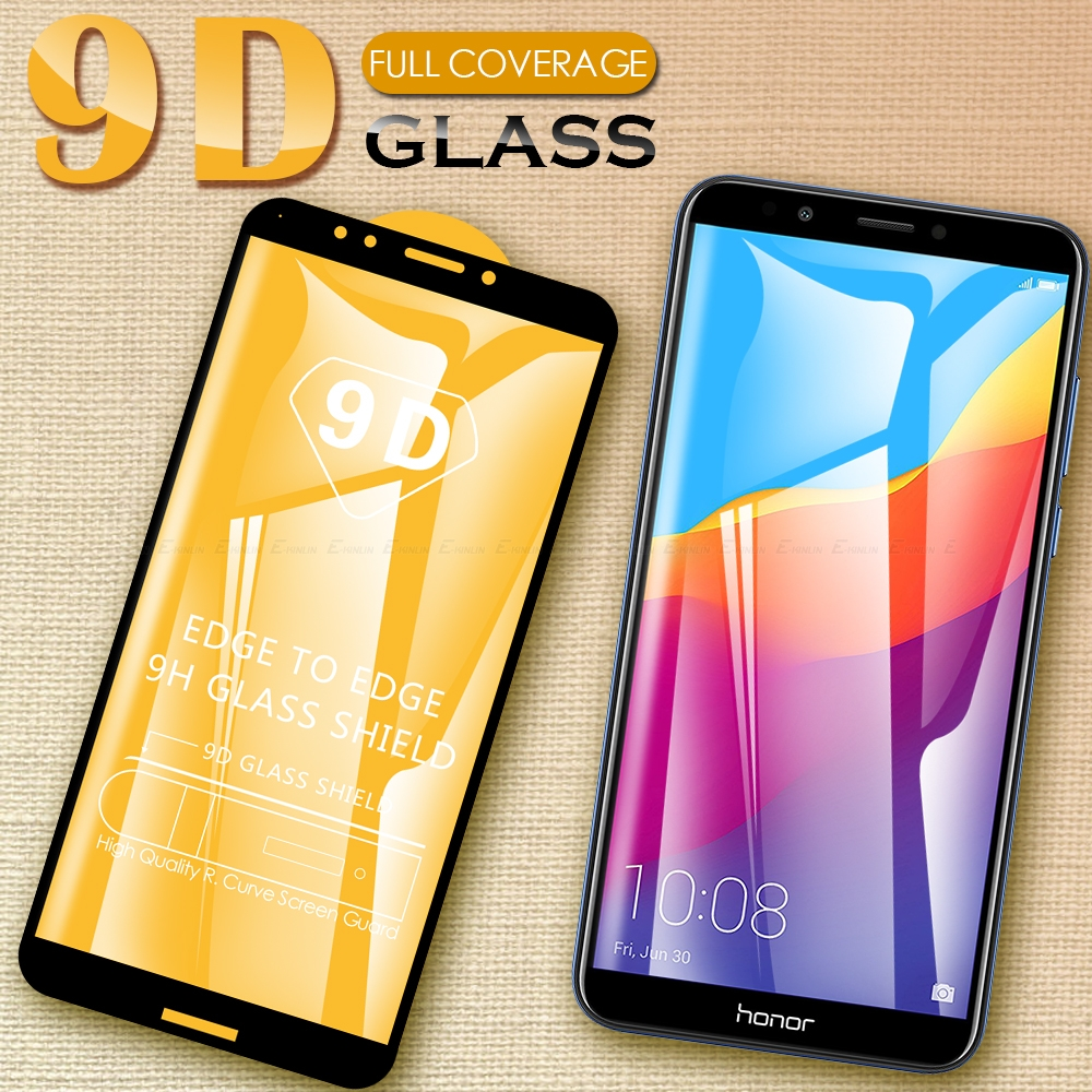 9D Full Cover Tempered <font><b>Glass</b></font> For <font><b>Huawei</b></font> Y6 Y7 Prime 2018 Nova 2 lite Screen Protector For <font><b>Huawei</b></font> <font><b>Honor</b></font> 7X <font><b>7A</b></font> Protective <font><b>Glass</b></font> image