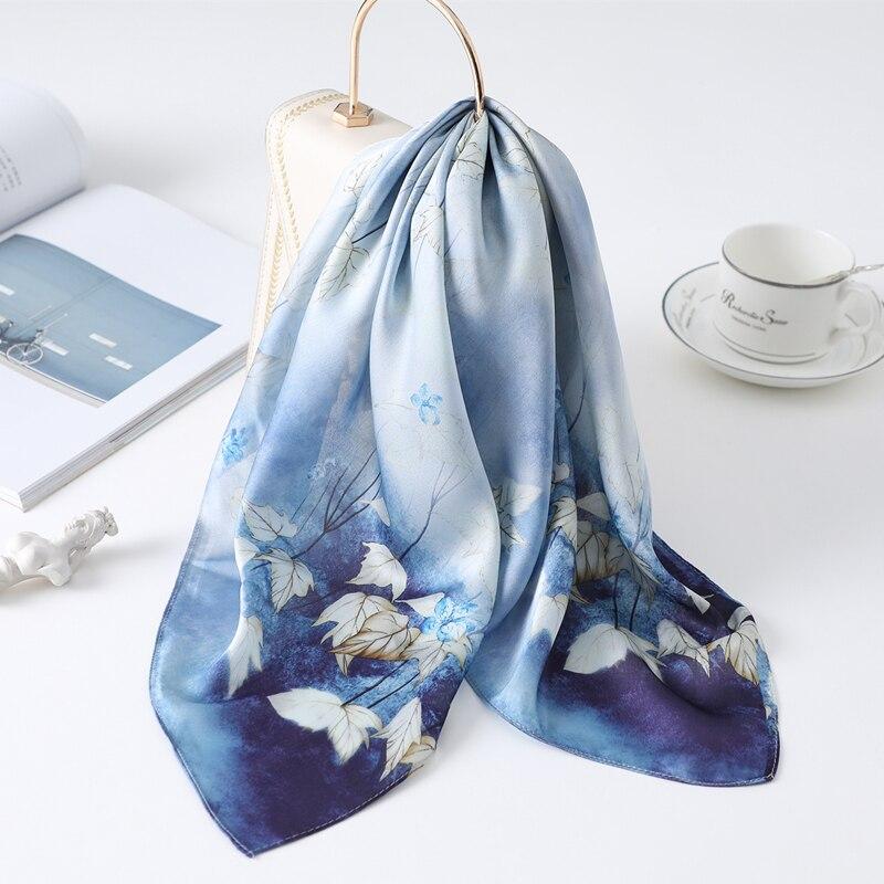 Female Silk Neck Scarf Hair Band Elegant Floral Print Head Wraps Square Foulard Scarves Small Pashmina  2020 New
