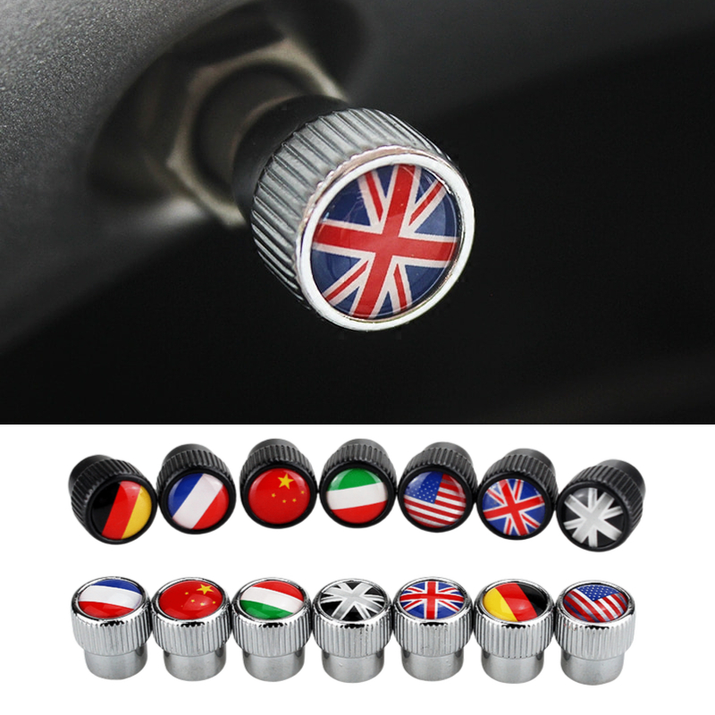 Tire Vale Caps Car Wheel Stem Air Caps Flag For Mercedes Benz AMG Emblem W203 W204 W205 W209 W210 W211 W212 W176 W166 W163 W221