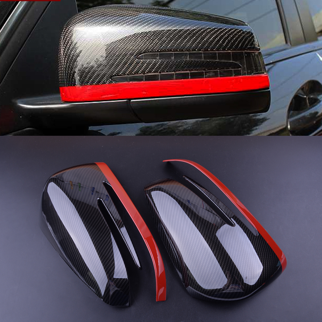 beler Black 2Pcs ABS Rear View Mirror Protection Trim Fit for Mercedes Benz A CLA GLA GLK Class W117 W176 2014 2015 2016 2017