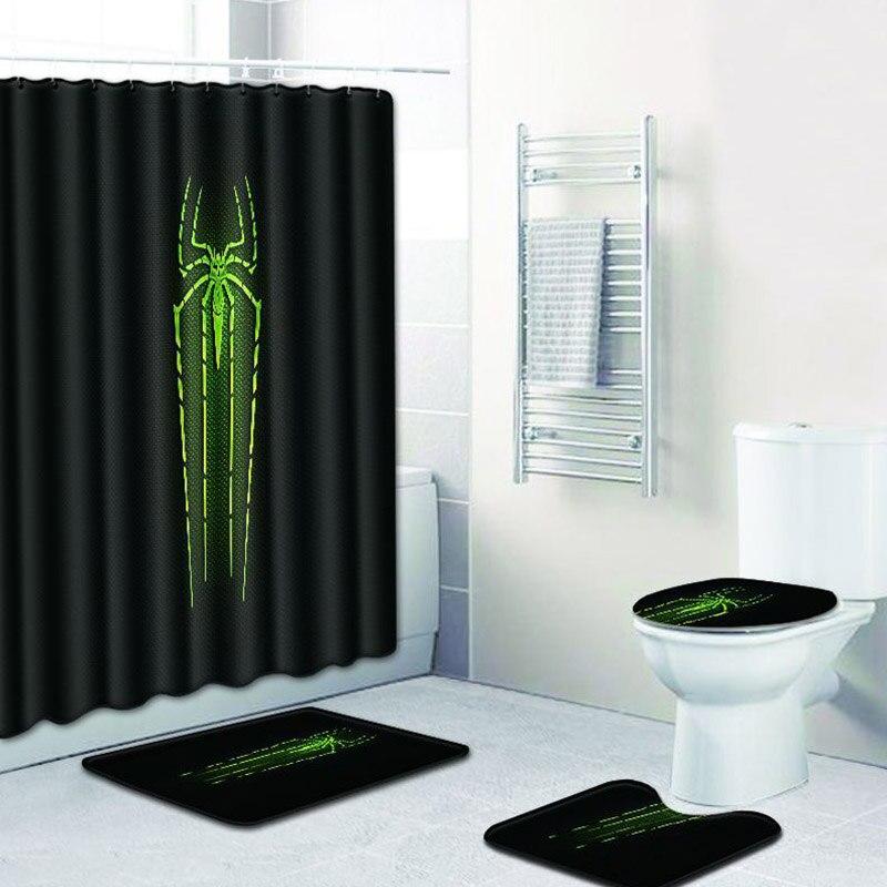 Impression 3D Polyester rideau de douche salle de bain étanche avec crochets antidérapant piédestal tapis couvercle couverture de toilette tapis de bain écran de bain