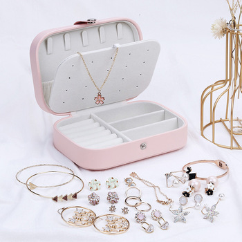 Korean Style Fresh And Simple Girl Earrings Plate Jewelry Box Protable Leather Earrings Ring Multi