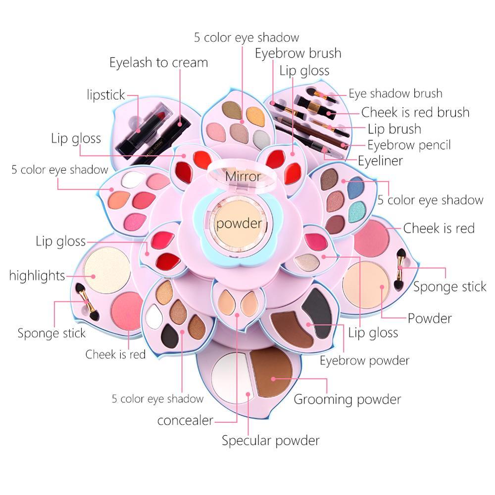 Miss Rose di trucco della gamma di colori di luccichio opaco ombretto in polvere trucco viso fard impermeabile di lunga durata batom nude lip gloss MS210 - 4