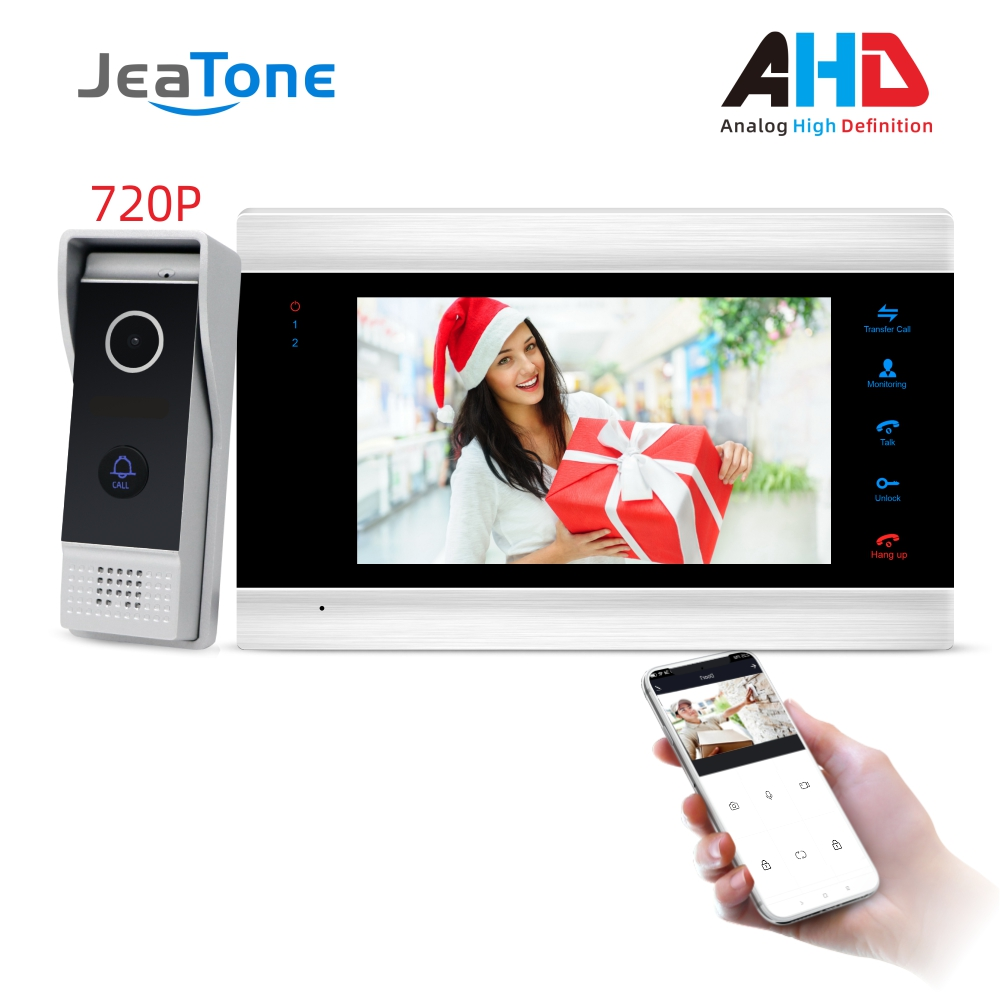 JeaTone New 7'' WiFi Smart Wired Video Door Phone Intercom System With 720P AHD Doorbell Camera Free App Remote Motion Detection