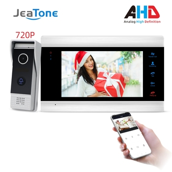 цена на JeaTone New 7'' WiFi Smart Wired Video Door Phone Intercom System with 720P AHD Doorbell Camera Free App Remote Motion Detection