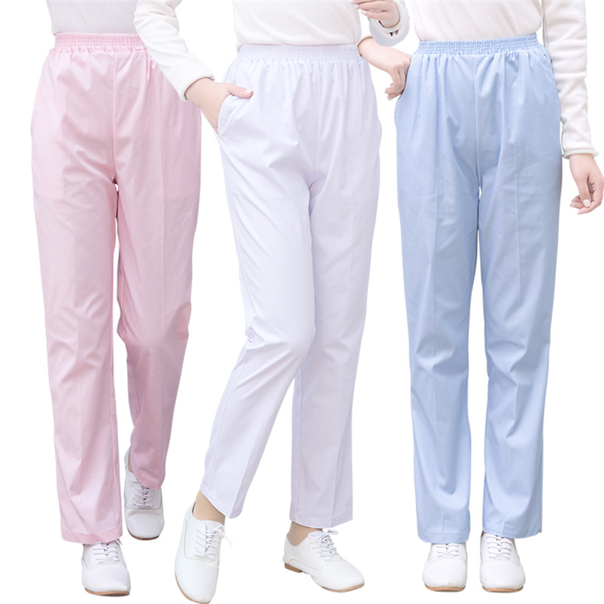 New Medical Uniform Work Trouser Doctor Nurse Elastic Waist Women Dental Scrub Pants SPA Clinical Pant Lab SPA Nursing Surgical