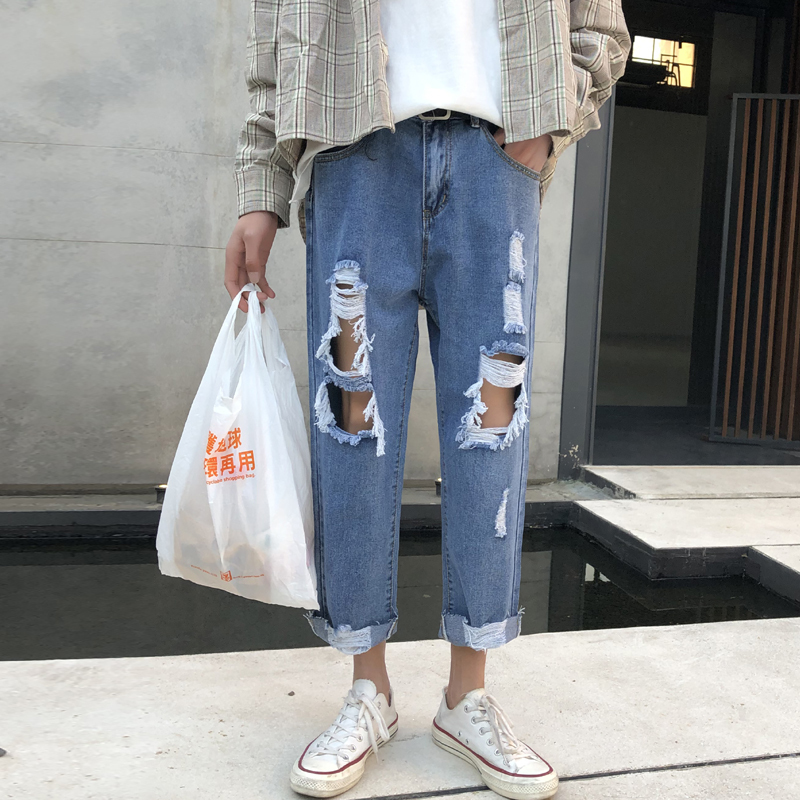 Men's Jeans 2020 Spring New Slim-cut Jeans With Holes On The Nine Minutes Of Loose Casual Personality Youth Men's Wear