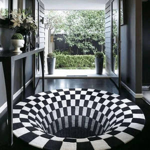 Carpet Round Floor-Mats Illusion-Rug Bedroom Anti-Slip Vortex Black Fashion Rug White