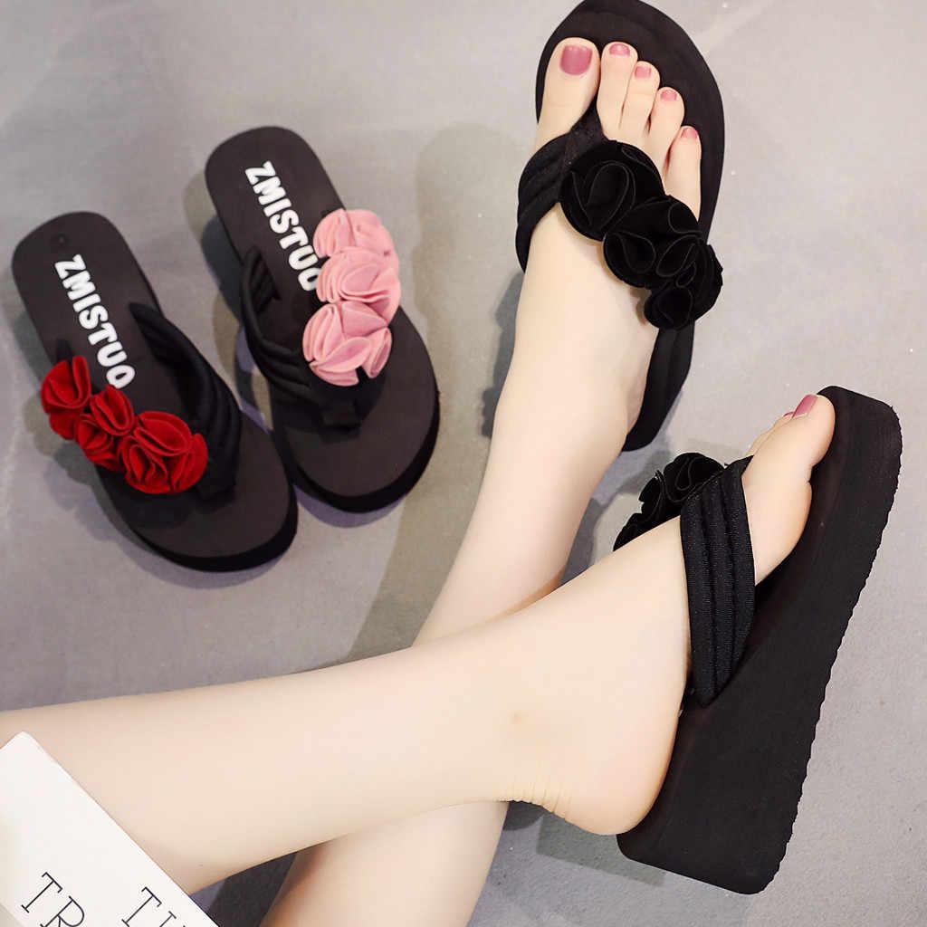 Shoes Woman Summer Flower Clip Toe Sandals Womens Shoes Wedge Slippers sandalia feminina Women Beach Slipper Flip Flops mujer