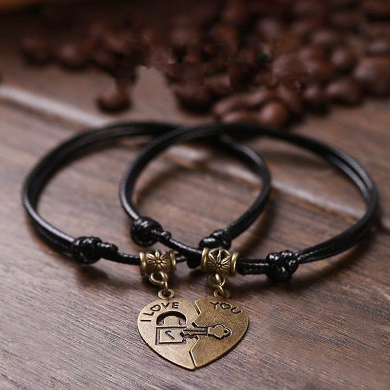 Vintage Couple Bracelets Romantic Fashion Black Rope Chain Bracelets Stitching Heart Lovers Engagement Jewelry