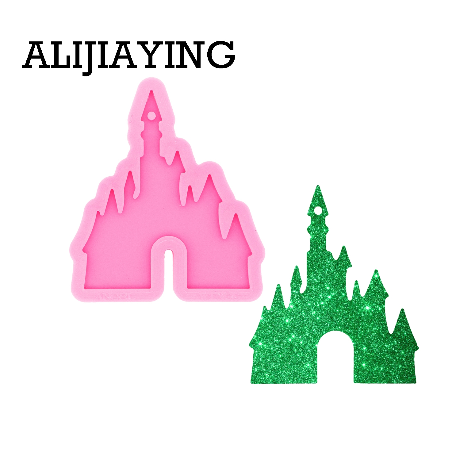 DY0479 Glossy Cartoon Castle Keychain Mould Silicone Resin Pendant Mold For Epoxy Jewelry Making DIY Crafts Necklace