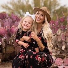 CYSINCOS/ платья для мамы и дочки; длинное платье с цветочным рисунком; одежда для мамы и дочки; платье для мамы и дочки; Семейные комплекты