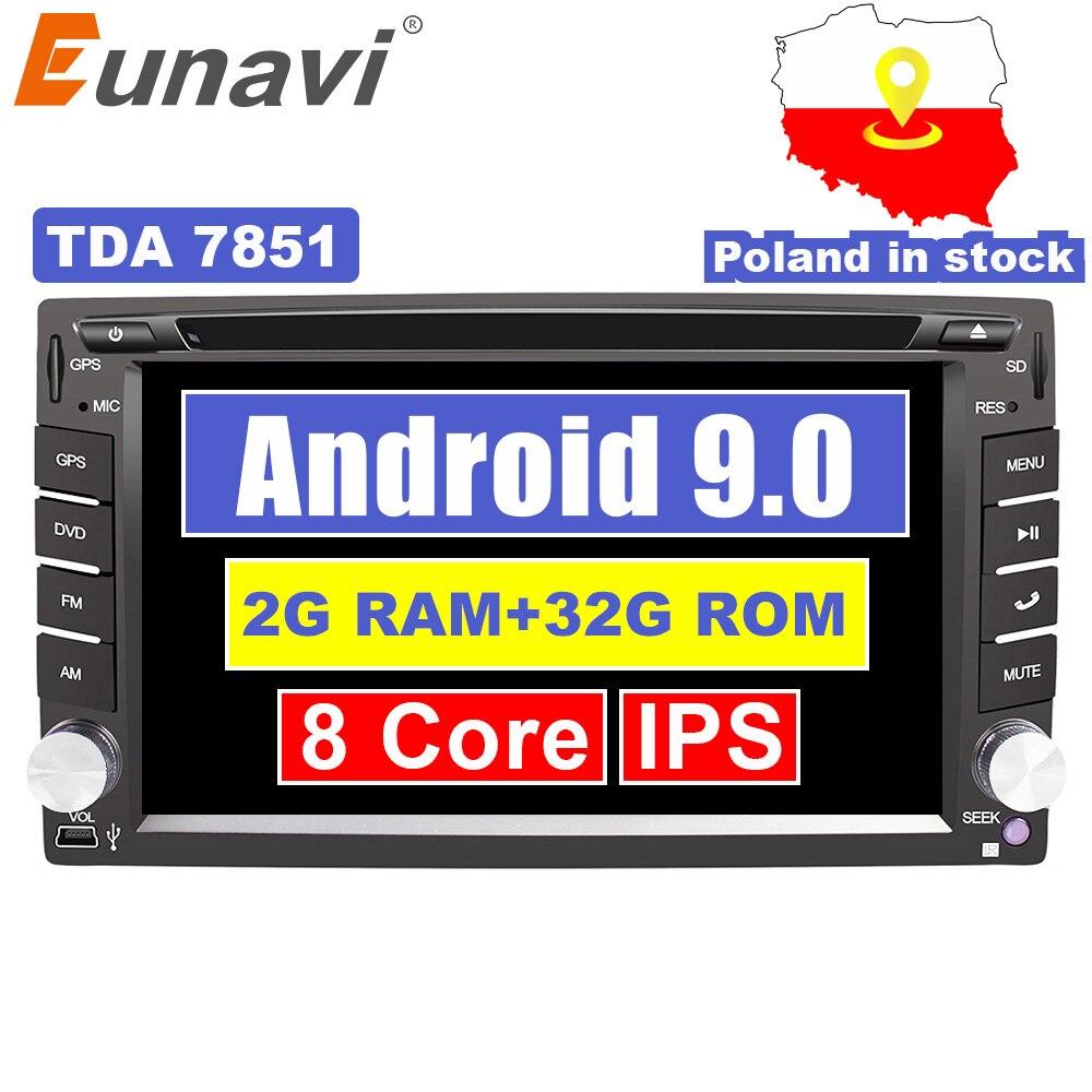 Eunavi 2 Din Universal Android 9.0 Car Dvd Player GPS + wifi + bluetooth + radio + Octa Núcleo + ddr3 + Capacitive Touch Screen + som do carro