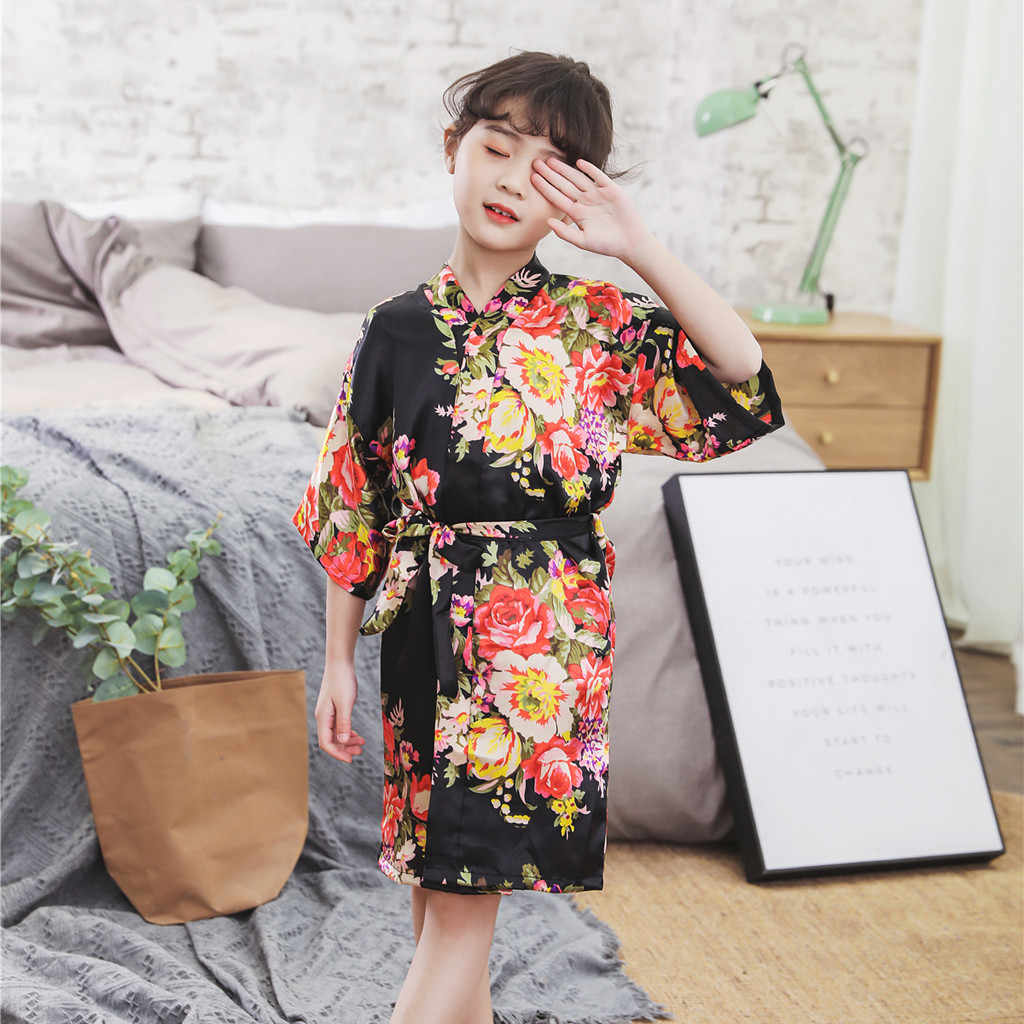 Bé Tập Đi Bé Gái Kimono Áo Choàng Tắm Hoa Lụa Satin Trẻ Em Quần Áo 2020 Trẻ Sơ Sinh Trẻ Em Kimono Áo Choàng Tắm Đồ Ngủ Quần Áo