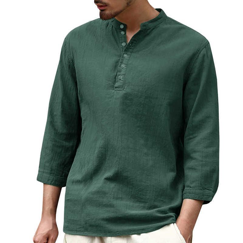 Camisas casuales delgadas de verano para hombre, camisas elegantes de manga media para hombre, ropa de marca de diseñador europeo, ropa de calle de moda B639