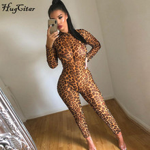 Hugcitar 2019 long sleeve leopard print mesh see-through bodycon sexy jumpsuit autumn winter women streetwear outfits club body