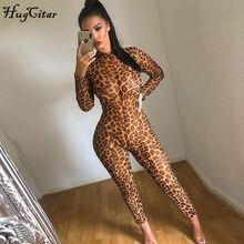 Tuta sexy aderente trasparente a rete con stampa leopardata a maniche lunghe