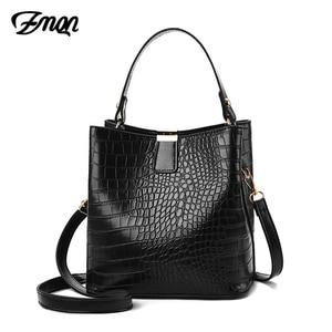 Image 1 - ZMQN Black Bucket Bags Women Crocodile Leather Crossbody Bags Luxury Handbags Ladies Hand Bags Shoulder 2020 Bolsa Feminina A583