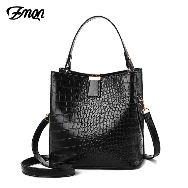 ZMQN Black Bucket Bags Women Crocodile Leather Crossbody Bags Luxury Handbags Ladies Hand Bags Shoulder 2020 Bolsa Feminina A583