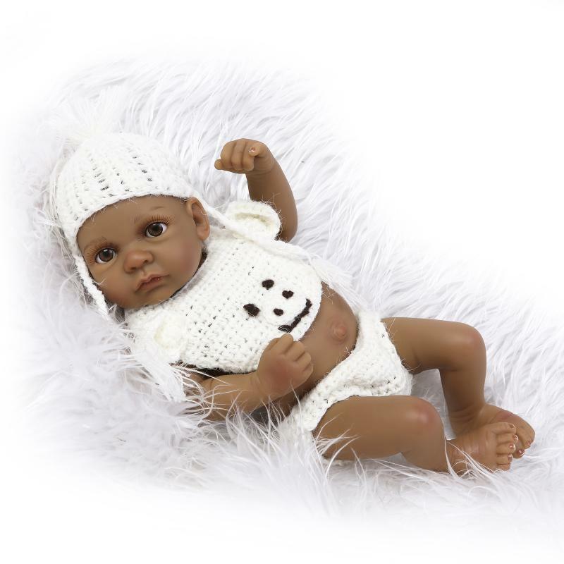 African American Preemie Baby Girl Doll Full Vinyl Newborn  Lifelike Baby