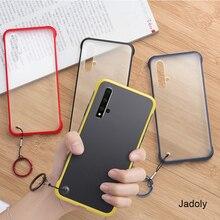 Frameless Transparent Matte Hard Phone Case For Huawei Honor 20 Pro Nova 5 With Ring Lanyard