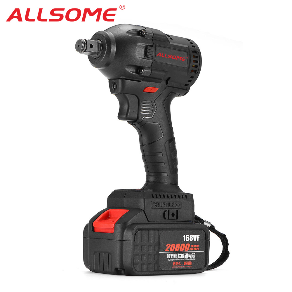 ALLSOME 168VF 520N m 20800mah Brushless Wrench Li-ion Battery Electric Wrench Cordless Waterproof Impact Wrench Kit HT2896