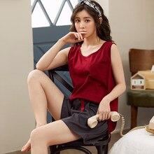 MELIFLE летние модные красные пижамные комплекты для женщин 100% Хлопковая пижама сатиновая мягкая одежда для сна Atoff дома однотонные шелковые ...