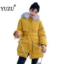 Korean Style 2019 Winter Jacket Women Faux Fur Collar Hooded Down Cotton With Belt Loose Long Coat Outwear Padded Jacket Parkas стоимость