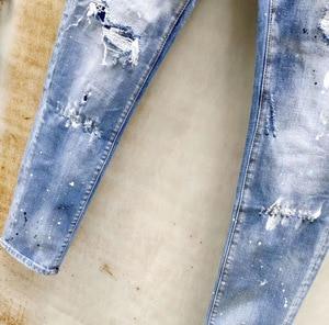 Image 5 - European American dsq brand jeans blue Denim jeans pants Men Slim denim trousers button blue hole Pencil Pants jeans for men 893