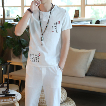 Summer 2 Pieces Sets Chinese Style Retro Embroidery Men's Short-sleeved Suit Seven Points Pants Suit Cotton And Linen Fabrics