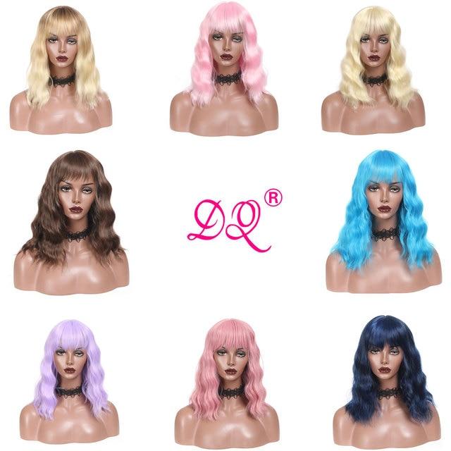 Peluca DQ Bob corto con flequillo agua peluca sintética con ondas para mujeres temperatura del calor fibra rosa azul púrpura marrón 12 pulgadas peluca