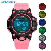 SYNOKE дети часы водонепроницаемый будильник светодиод спорт часы для детей большой циферблат военные часы девочка мальчик электроника наручные часы подарок