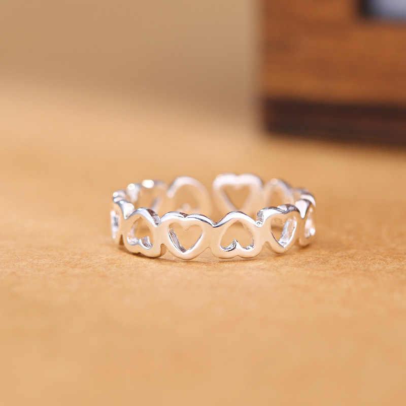 เงินสี Hollowed-out Heart Shape แหวนเปิดออกแบบน่ารักแฟชั่น Love เครื่องประดับสำหรับหญิงสาวสาวของขวัญเด็กปรับ