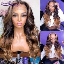 13*6 falso couro cabeludo brasileiro solto profunda frente do laço perucas de cabelo humano preplucked mel loira remy peruca do laço com destaque carina