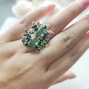 Image 5 - Красивые серьги и кольцо из зеленого кристалла, ювелирные изделия, цветочный дизайн, мульти Цирконий, латунный Металл, 2 шт., наборы ювелирных изделий для подарка маме