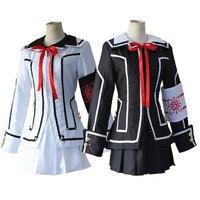 Women Anime Vampire Knight Cosplay Costume Yuki Day Night Class Uniform Girls Cross Black white Jacket Shirt Dress Armband