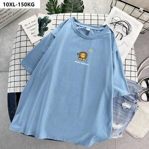 De talla grande 8XL 10XL camisetas mujeres de verano de manga corta de León camisetas suelto divertido tops 58 62 56 60 Rosa 100KG 150KG 120KG 130KG azul