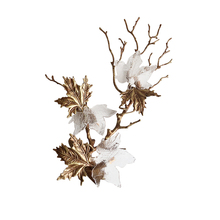 Phube Lighting Artistic Copper Branches Wall Lamp Transparent Grape Leaf  Wall Light Sconce Bedside Lighting