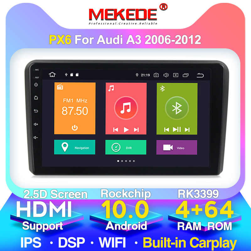 Mekede 9853 4G LTE 9 Inch 8 Core Android 10.0 Mobil GPS Navigasi Multimedia Player untuk Audi A3 S3 2011-2013 WIFI Bluetooth FM