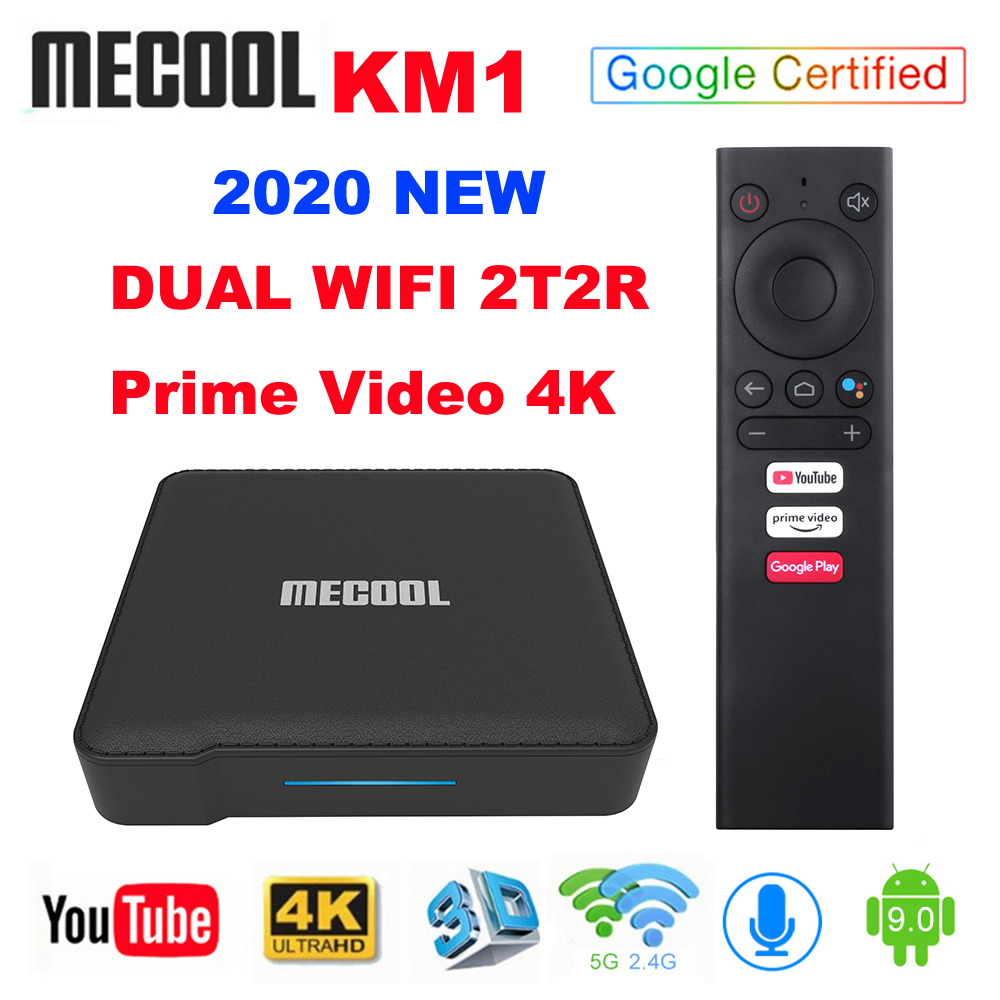 2020 Mecool KM1 ATV Google Certified Android 9.0 TV Box Amlogic S905X3 Smart Androidtv Prime Video 4K Dual Wifi 2T2R Set Top Box