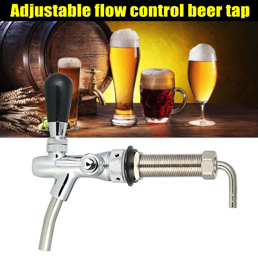 Beer Tap Faucet Adjustable G5/8 Long Shank Chrome Plating Anti-rust Flow Controller UD88